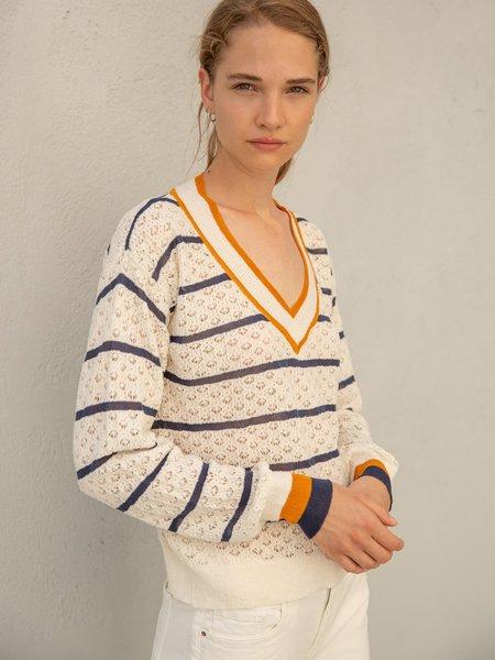 sita murtV Neck Striped Sweater - White/Blue/Yellow