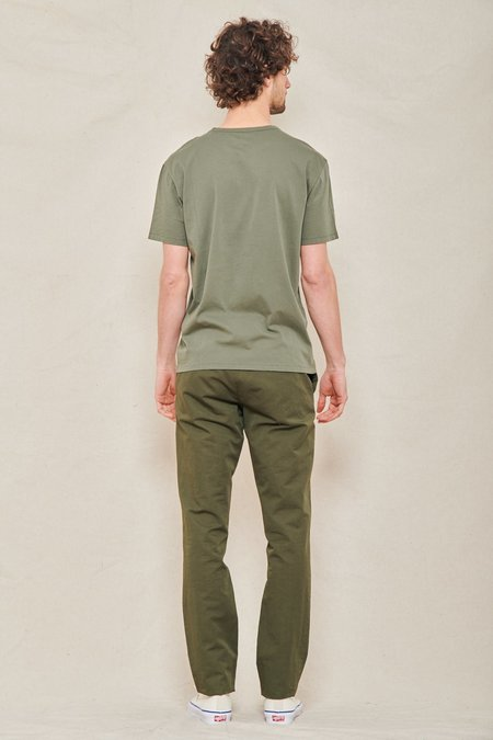 Officine Generale Paul Belted Garment-Dyed Cotton and Linen-Blend Pants - FOREST NIGHT