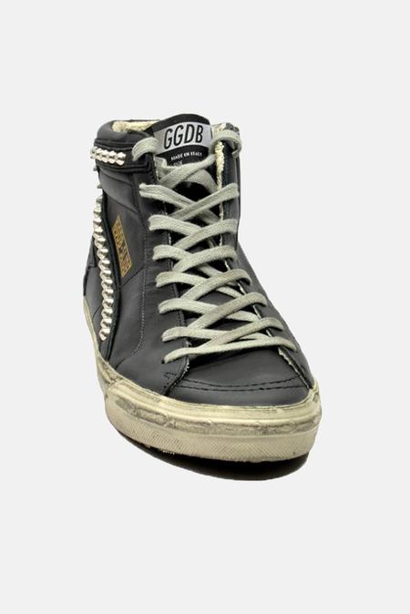 Golden Goose Slide Sneaker Shoes - Black Leather Studs