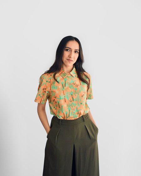 Poplin & Co. Desert Plants Button Up Short Sleeve Shirt