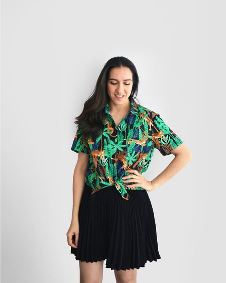 Poplin & Co. Jungle Tigers Button Up Short Sleeve Shirt