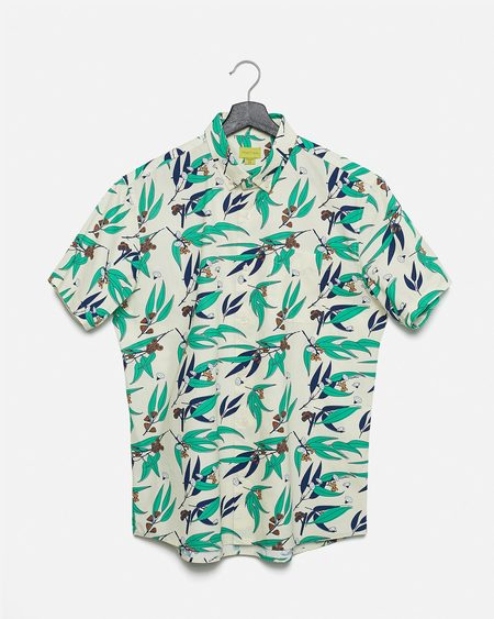 Poplin & Co. Wild Flowers Button Down Short Sleeve Shirt
