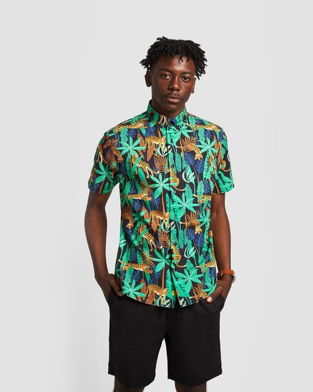 Poplin & Co. Jungle Tigers Button Down Short Sleeve Shirt
