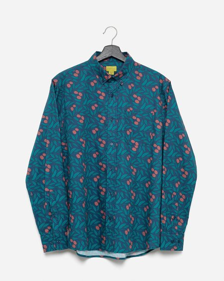 Poplin & Co. Casual Button Down Long Sleeve Shirt - Olive Branch Print