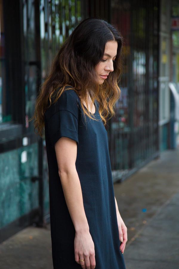 Ali Golden Roll Sleeve T-shirt Dress - Black