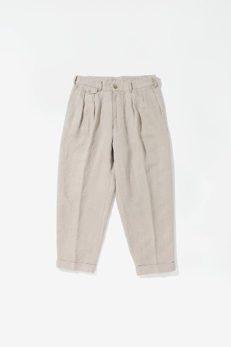 Beams Plus Pleated Linen Pants - Beige