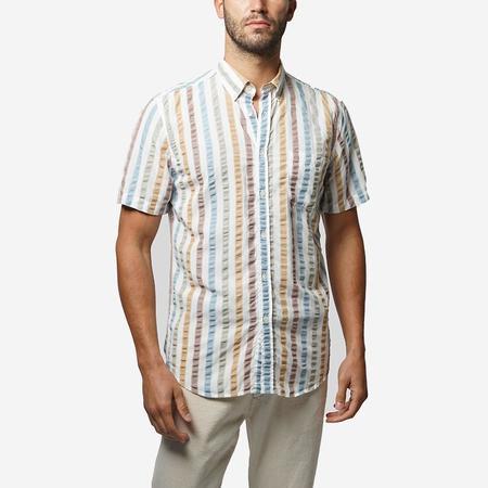 Portuguese Flannel Water Colour Short-Sleeve Shirt - MULTI STRIPE