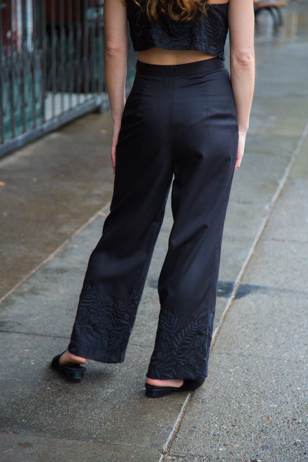 mara hoffman wide leg embroidered pant