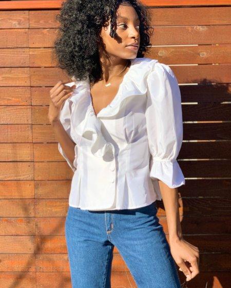 Vintage Puff Sleeve Blouse - White