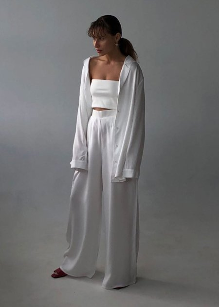 Bibliothéque Tencel Shirt and Trousers Set - White