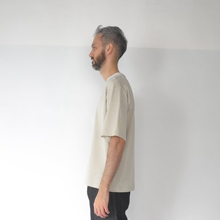 Still By Hand Striped half sleeve t-shirt - yellow/beige