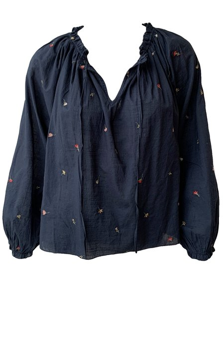 The Great. Posey Top - Navy/tossed floral Embroidery