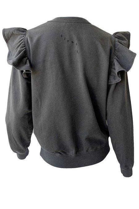 Clare V. Ruffle Sweatshirt - Fade Black