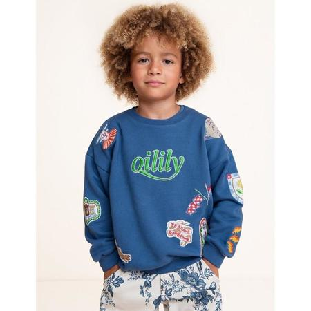 kids oilily heritage sweater - embroidered blue