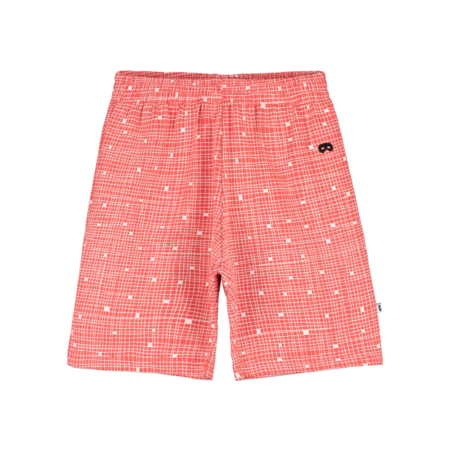 kids Beau Loves Grid Shorts - Red