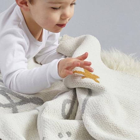 kids moon babe blankets Aquarius Babe Blanket - ivory/light grey/ochre