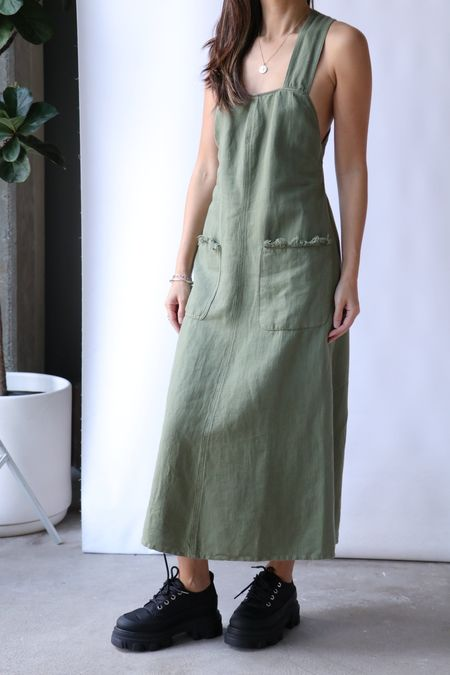 Raquel Allegra Apron Dress - Army