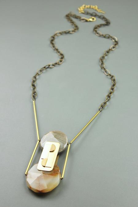 David Aubrey Inc Reversible Double Agate Necklace - Brass