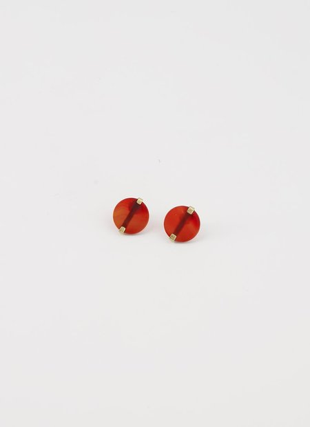 ADORN MONU BAR RED CORNELIAN earrings - 14KARAT GOLD/BRONZE