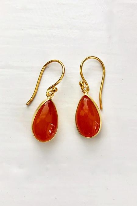 Percent Jewelry Carnelian Cabachon Pear Earring - Gold