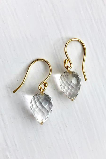 Percent Jewelry Faceted Rock Crystal Drop Earring - Gold