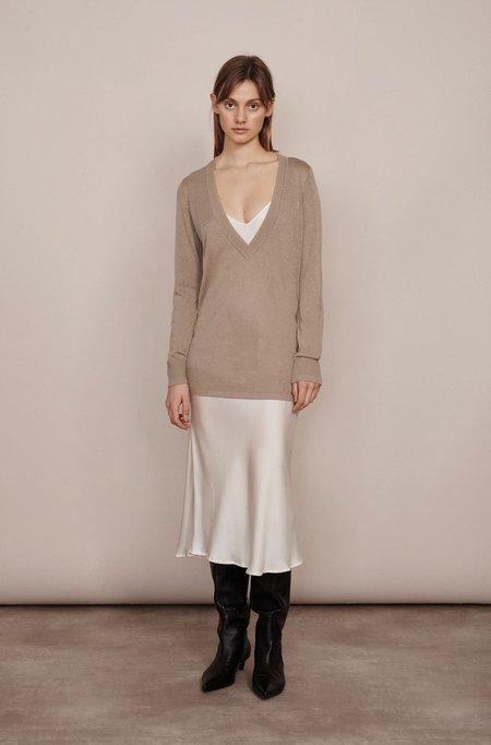 Silk Laundry DEEP V SWEATER - ALUMINIUM