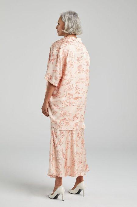 Silk Laundry SHORT SLEEVE BOYFRIEND SHIRT - SERENGETI