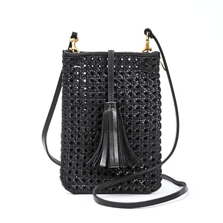 Clare V. Poche Bag - Black Rattan