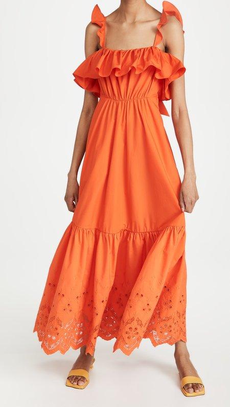 Slate Broderie Maxi Dress - Orange
