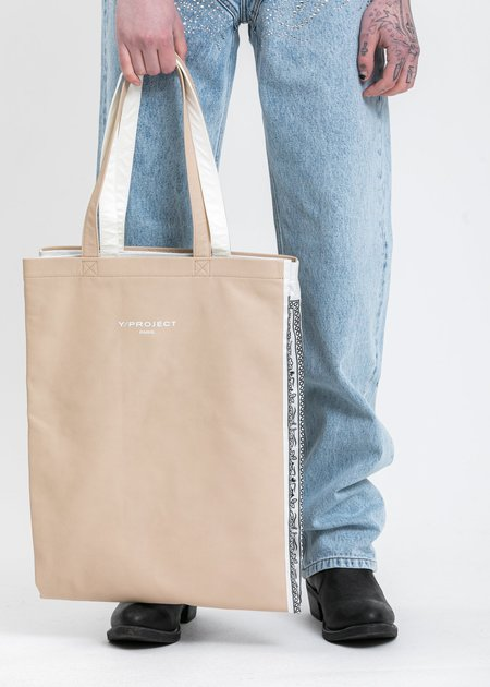 Y/project Tote Bag - Cream/White Scarf Print
