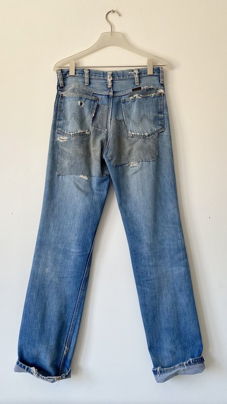 Vintage Wranglers 1970s Super Patched Jeans - Blue