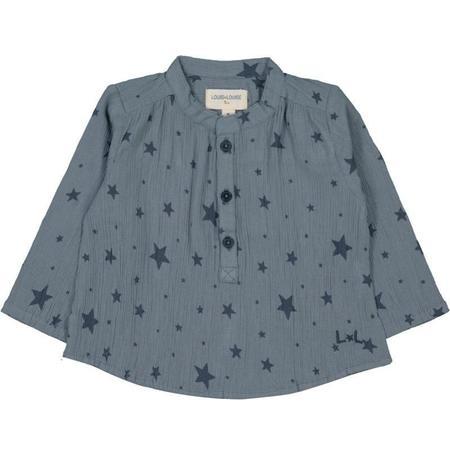 kids louis louise cotton crepe shirt - blue stars