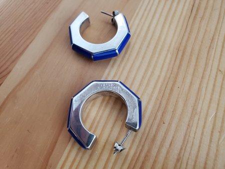 Nomia Enamel Earrings - Blue/Silver