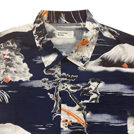 Universal Works Road Shirt - Navy Fuji Summer Print