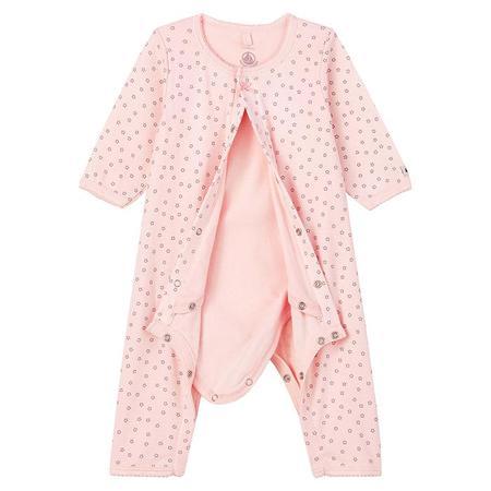 KIDS Petit Bateau Baby Lacoupe Pyjamas - Pink Star Print