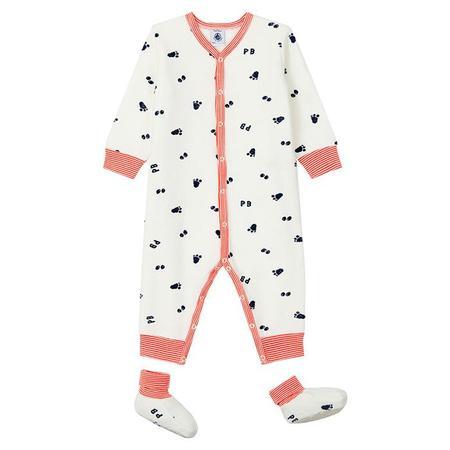 KIDS Petit Bateau Baby Lamie Paw Print Pyjamas - Cream