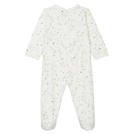 KIDS Petit Bateau Baby Velour Shooting Star Print Pyjamas - White