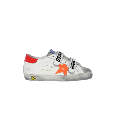 kids Golden Goose Old School Leather Upper Stripe and Heel Crack Leather Star GYF00111.F001176.80880 shoes - white