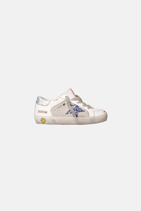 kids Golden Goose Superstar Shoes - Silver/Blue