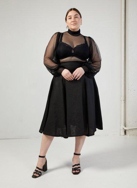 Eliza Faulkner Swiss Dot Mesh Dolly Top - Black