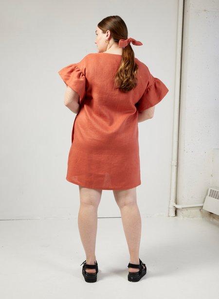 Eliza Faulkner Linen Raffi Dress - Terracotta