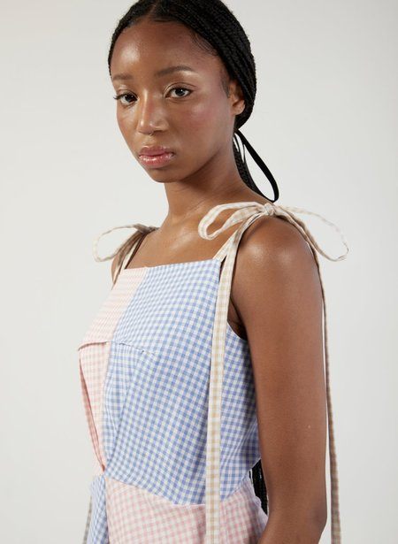 Eliza Faulkner Gingham Half/Half Dress - Blue/Pink/White
