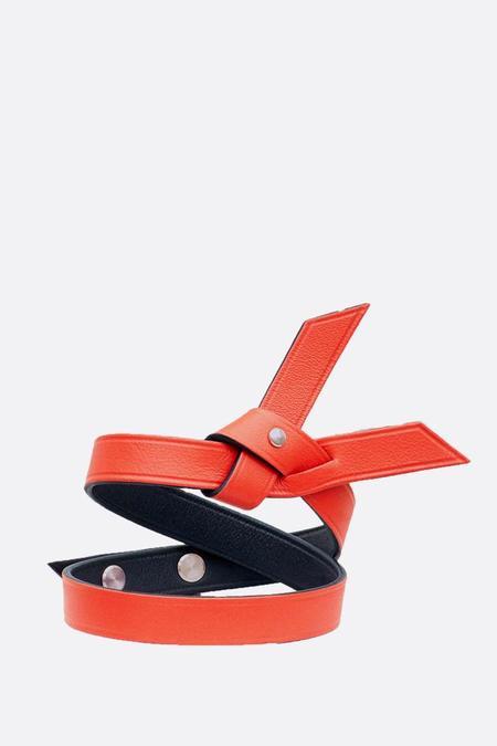 Phi 1.618 Double Twist Leather Bracelet - Orange Coral/Black