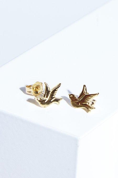 The Thorny Roses 14K Gold Birds in Flight Earrings
