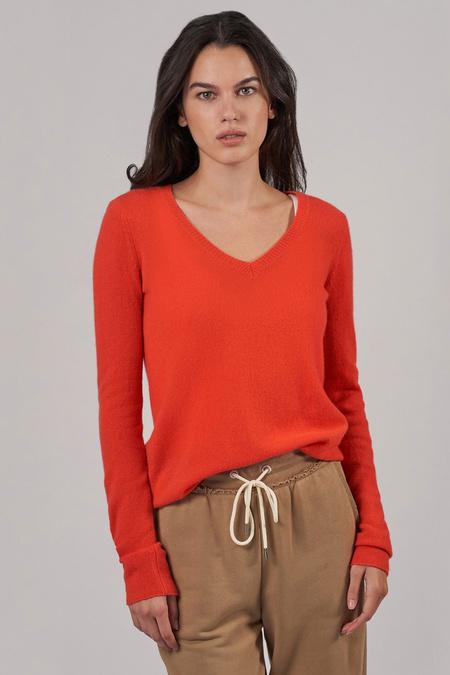 ATM Cashmere V Neck L/SLV Sweater - Deep Coral