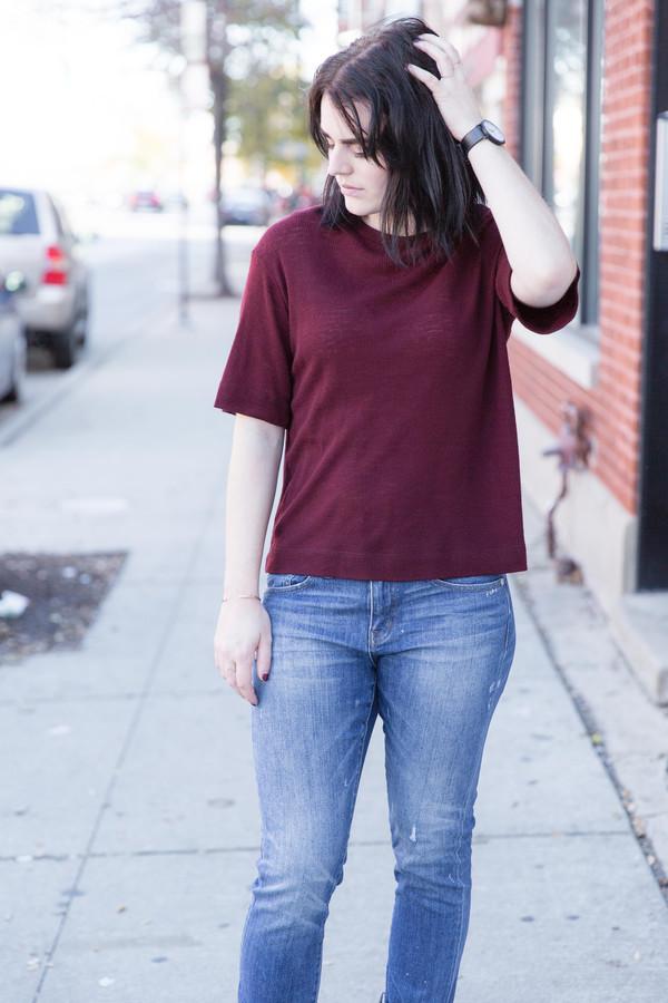 Waltz Wool T-Shirt in Oxblood