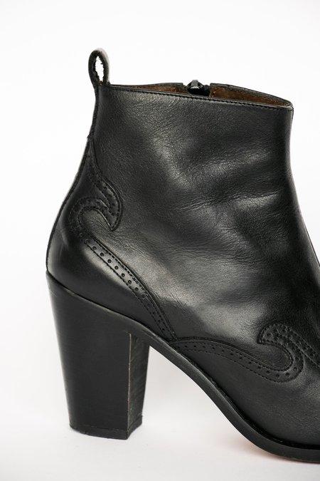 Vintage Western Leather Ankle Boots - black