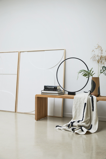 HKliving throw with tufted lines - White/black