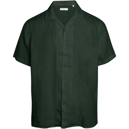 knowledge cotton apparel wave ss linen shirt - forrest night