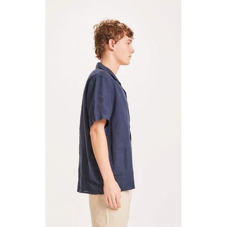 knowledge cotton apparel wave ss linen shirt - total eclipse
